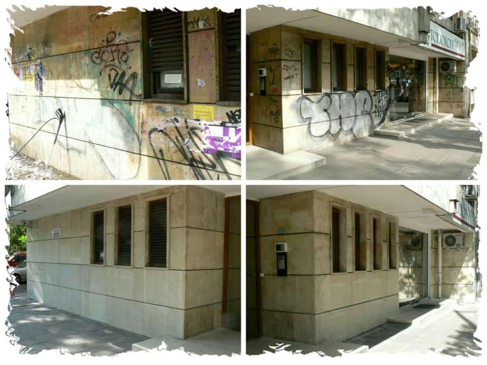 Graffitientfernung von Fassade