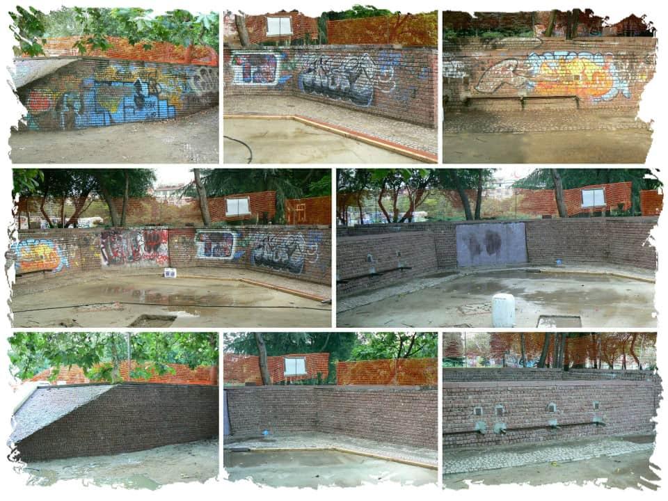 Graffitientfernung von einem Spielplatz