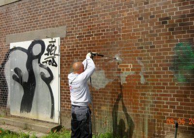 Graffitientfernung  Klinkerfassade in Essen