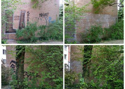 Graffitientfernung und Antigraffitischutz  Klinkerfassade und Garagentore in Köln