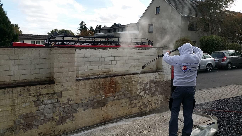 Klinkermauer abbeizen und Graffitischutz Siegburg 7